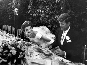 Sen. John Kennedy and His Bride Jacqueline in Their Wedding Attire by Lisa Larsen