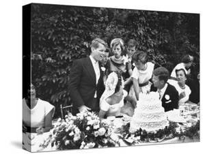 Senator John F. Kennedy with His Bride Jacqueline at Their Wedding Reception by Lisa Larsen