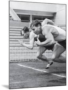 Soviet Athletes Boris Tokarev and Vladimir Suharev Practicing for the Russian Olympics by Lisa Larsen