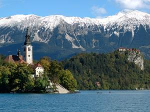 Bled Castle and Julian Alps, Lake Bled, Bled Island, Slovenia by Lisa S^ Engelbrecht