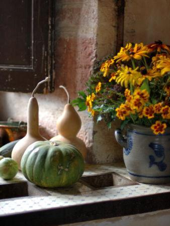 Gourds and Flowers in Kitchen in Chateau de Cormatin, Burgundy, France by Lisa S. Engelbrecht