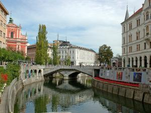 Triple Bridge by Joze Plecnik, Ljubljana, Slovenia by Lisa S. Engelbrecht