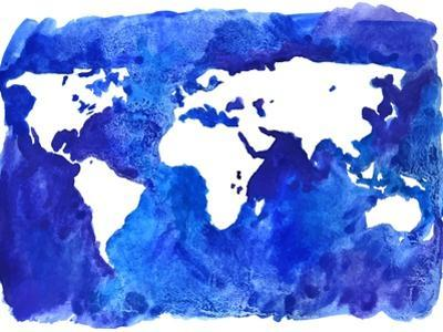 Watercolor World Map Illustration by LisaAlisaill