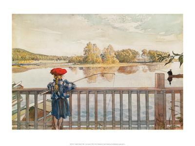 Lisbeth Fishing-Carl Larsson-Framed Art Print