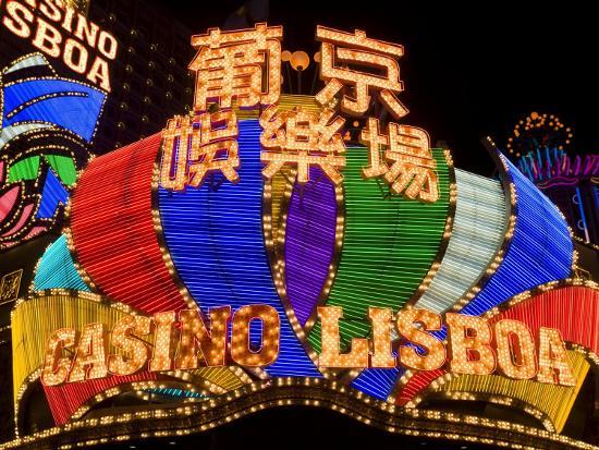 Lisboa Casino Neon Illuminated at Night, Macau, China-Gavin Hellier-Photographic Print