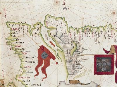 Lisbon and Tagus River Estuary from Atlas by Diego Homen, 1563--Giclee Print