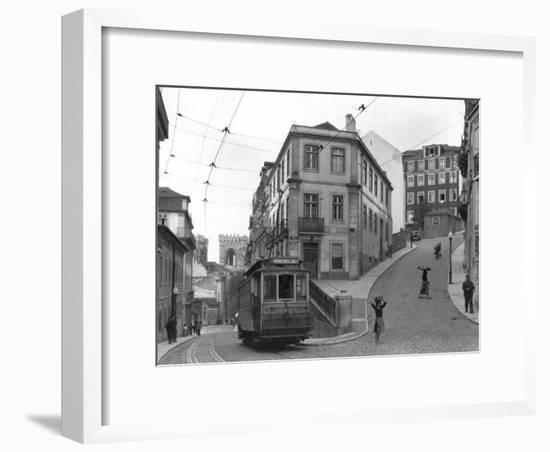Lisbon Street Scene with Tramcar-W. Robert Moore-Framed Photographic Print