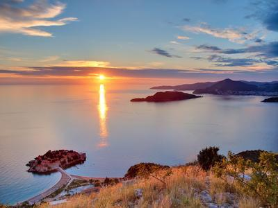 Beautiful Sunset over Montenegro Coastline. View from the Top of Mountain