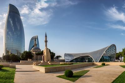City View of the Capital of Azerbaijan - Baku. Famous Flame Towers, Mosque and Funicular Station.