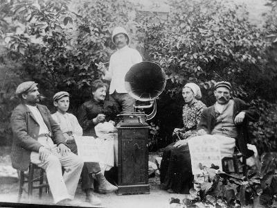 Listening to the Gramophone Near Beziers, c. 1910-French Photographer-Photographic Print