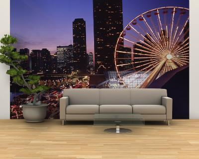 Lit Up Ferris Wheel at Dusk, Navy Pier, Chicago, Illinois, USA--Wall Mural – Large