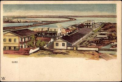 Litho Ägypten Suez, Blick Auf Ort, Wasserstraße, Boote--Giclee Print