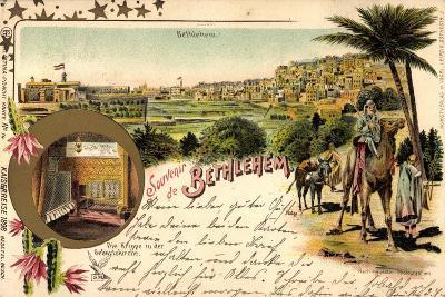 Litho Bethlehem Israel, Kaiserreise 1898, Kamele, Ort--Giclee Print