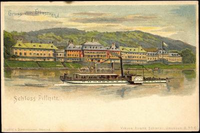 Litho Dresden Pillnitz, Salonraddampfer, Elbe, Schloss--Giclee Print