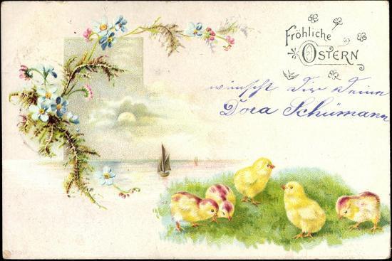 Litho Glückwunsch Ostern, Küken Auf Der Wiese, Blumen--Giclee Print