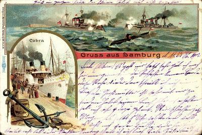 Litho Hamburg, Dampfer Cobra, U Boot, Kriegschiffe--Giclee Print