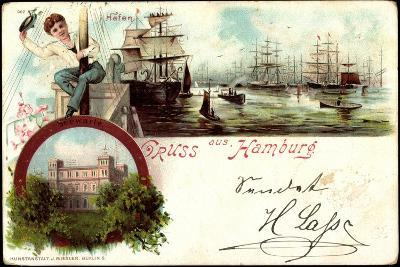 Litho Hamburg Harburg, Segelschiffe Im Hafen, Seewarte--Giclee Print