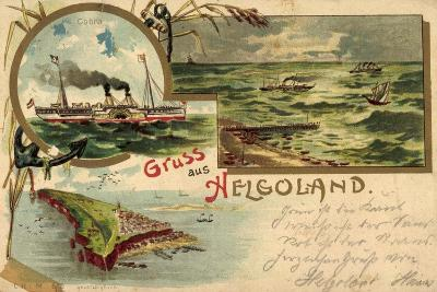 Litho Helgoland, Dampfer Cobra, Inselumriss, Segelboote--Giclee Print