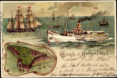 Litho Helgoland, Dampfer Prinz, Heinrich, Segelschiff--Giclee Print