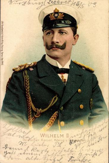 Litho Kaiser Wilhelm II V Preußen, Schirmmütze--Giclee Print