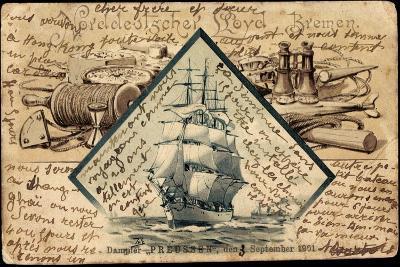 Litho Norddeutscher Lloyd Bremen, Dampfer Preußen--Giclee Print