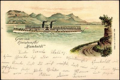 Litho Rheindampfer Humboldt, Binnenschiff Auf Dem Rhein--Giclee Print