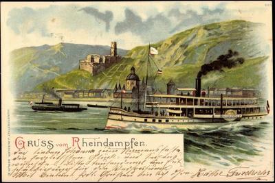 Litho Rheindampfer Overstolz Mit Berglandschaft--Giclee Print