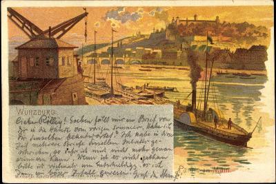 Litho Würzburg, Partie Am Main, Dampfer, Stadtansicht--Giclee Print