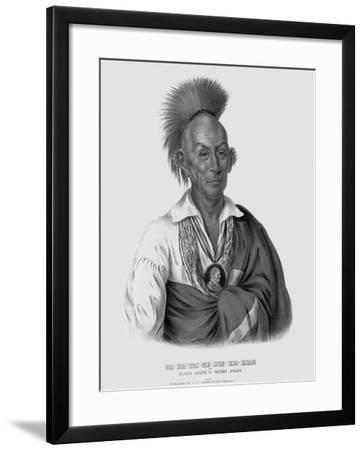 Lithograph after Makataimeshekiakiah, or Black Hawk-Charles Bird King-Framed Giclee Print