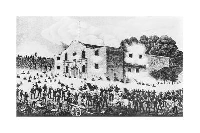 Lithograph of the Siege of the Alamo--Giclee Print