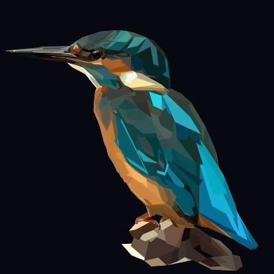 Littel Blue Bird Kingfisher on Dark Background-mid92-Art Print