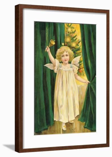 Little Angel with a Little Bell Summons Us to Come to the Christmas Tree--Framed Giclee Print