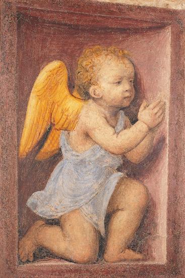 Little angel worshipping-Bernardino Luini-Art Print