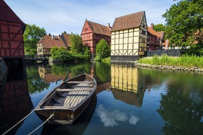 Little Boat in a Pond in the Old Town, Den Gamle By, Open Air Museum in Aarhus-Michael Runkel-Photographic Print