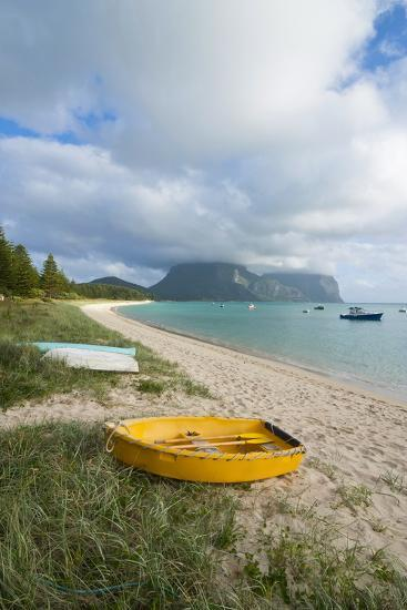 Little Boats Lying in the Grass in Front of Mount Lidgbird and Mount Gower in the Background-Michael Runkel-Photographic Print