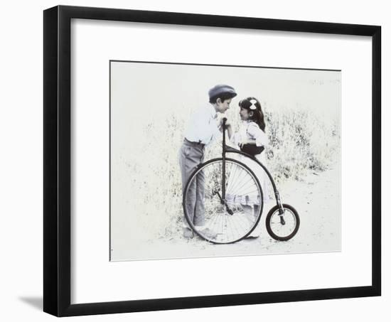 Little Boy and Girl by Old Fashioned Bicycle-Nora Hernandez-Framed Giclee Print