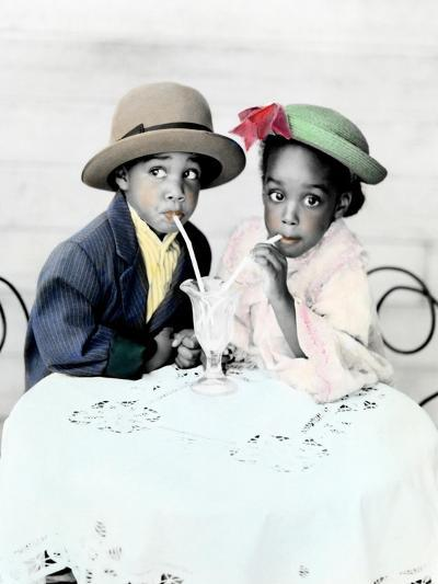 Little Boy and Girl Sitting at a Table Drinking a Malt from the Same Glass-Nora Hernandez-Giclee Print