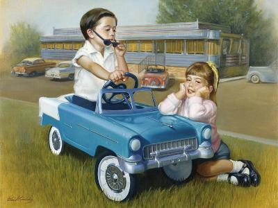 Little Boy in Toy Car with Girl Leaning on it Outside Old Fashioned Diner-David Lindsley-Giclee Print