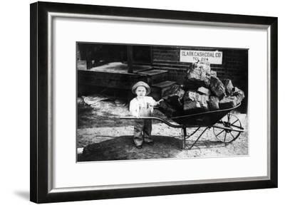 Little Boy Pushing Wheelbarrow of Coal - Elkhart, IN-Lantern Press-Framed Art Print