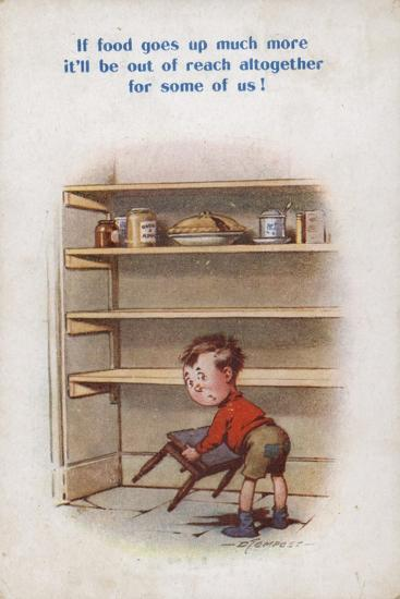 Little Boy Reaching for Top Shelf of Rationed Food--Giclee Print
