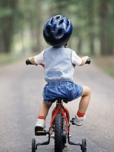 Little Boy Riding His Bicycle with Helmet-David Davis-Photographic Print