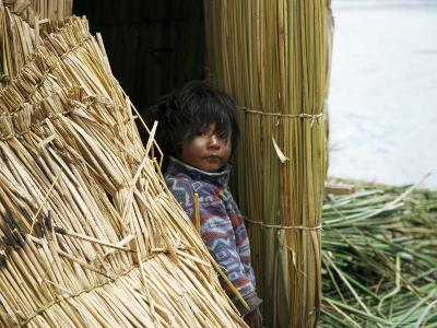 Little Boy, Uros Floating Reed Island, Lake Titicaca, Peru, South America-Jane Sweeney-Photographic Print