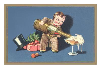 Little Boy with Big Champagne Bottle--Art Print