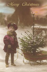 Little Boy with Christmas Tree on Sled