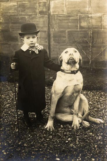 Little Boy with Large Bulldog in a Garden, France--Photographic Print