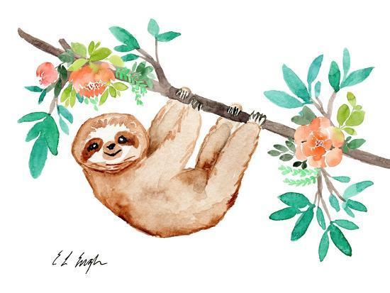 Little Brown Sloth with Flowers-Elise Engh-Art Print