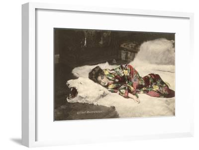 Little Butterfly on Polar Bearskin Rug--Framed Art Print