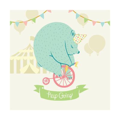 Little Circus Bear Pastel-Cleonique Hilsaca-Art Print