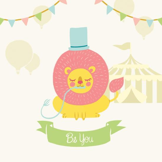 Little Circus Lion Pastel-Cleonique Hilsaca-Art Print