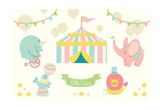 Little Circus Pastel-Cleonique Hilsaca-Art Print